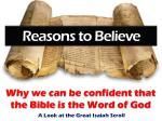 Why we can be confident that the Bible  i s the Word of God