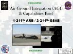 Air Ground Integration (AGI) & Capabilities Brief