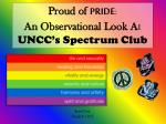 Proud of PRIDE : An Observational Look A t UNCC's Spectrum Club