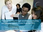 Inspiring learning through excellence in teaching and learning support: a view from the HEA