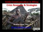 Crisis Communication in Africa Crisis Response & Strategies