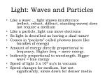 Light: Waves and Particles
