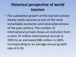 Historical perspective of world tourism