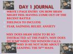DAY 1 JOURNAL