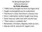 On Being Brought from Africa to America By  Phillis  Wheatley