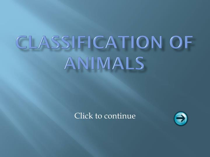 classification of animals n.