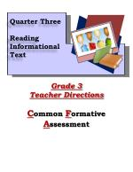Grade 3 Teacher Directions C ommon  F ormative  A ssessment