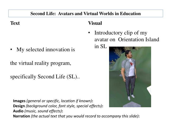 second life avatars and virtual worlds in education n.