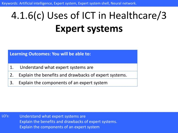 4 1 6 c uses of ict in healthcare 3 expert systems n.