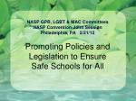 NASP GPR, LGBT & MAC Committees  NASP Convention Joint Session Philadelphia, PA   2/21/12