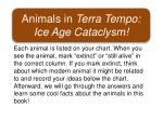 Animals in Terra Tempo: Ice Age Cataclysm!