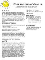 5 th  Grade Friday Wrap up A recap of our  week 5/2/14