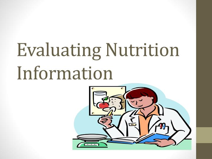 evaluating nutrition information n.