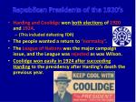 Republican Presidents of the 1920's