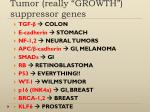 "Tumor (really ""GROWTH"") suppressor genes"