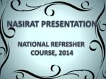 NASIRAT PRESENTATION NATIONAL REFRESHER  COURSE, 2014