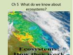 Ch 5  What do we know about  ecosystems?