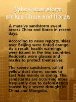 Yellow dust storm strikes China and Korea
