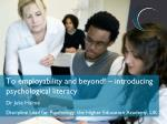 To employability and beyond! – introducing psychological literacy