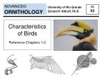 Characteristics  of Birds Reference Chapters 1-2