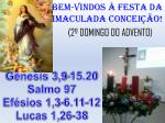 BeM-VINDOS À FESTA DA IMACULADA CONCEIÇÃO! (2º DOMINGO DO ADVENTO)