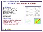 LECTURE 17: FAST FOURIER TRANSFORM