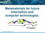 Metamaterials for future information and computer technologies .