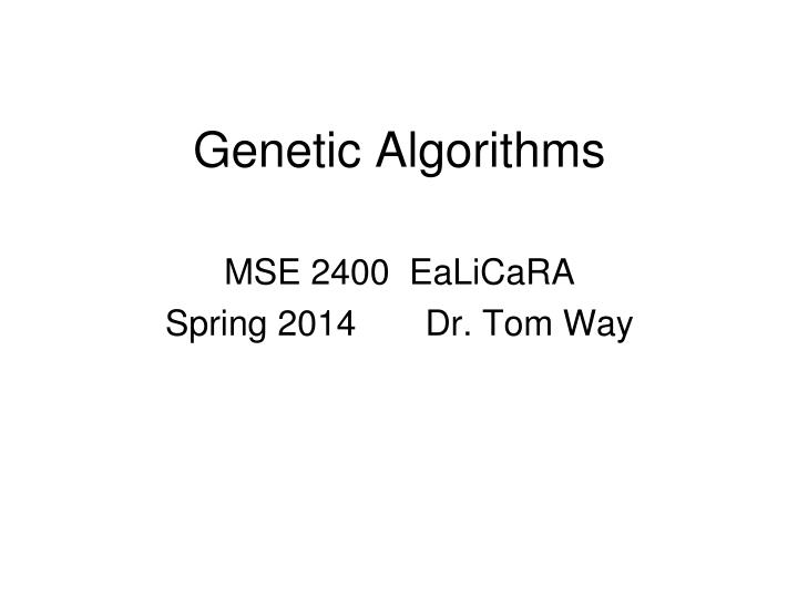 genetic algorithms n.