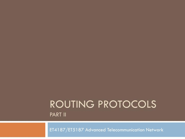 routing protocols part ii n.