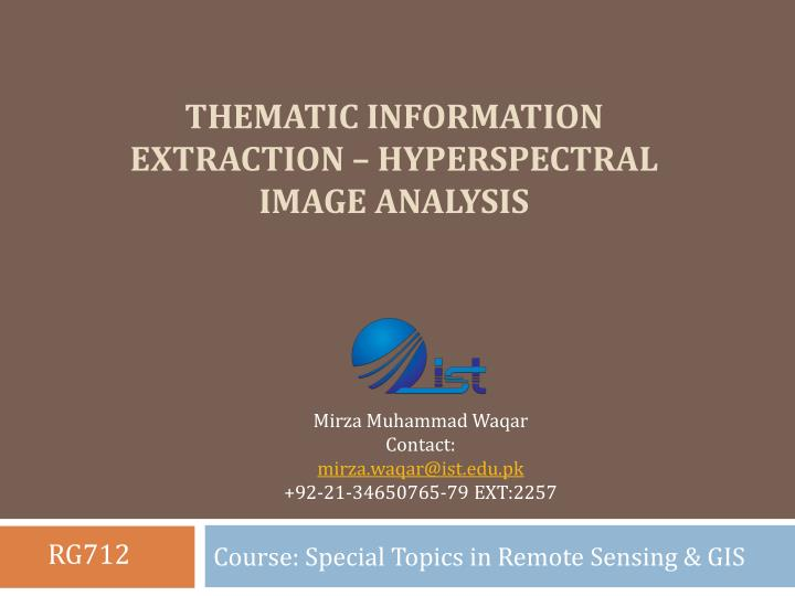 thematic information extraction hyperspectral image analysis n.