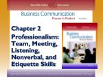 Chapter 2 Professionalism: Team, Meeting, Listening, Nonverbal ,  and Etiquette Skills