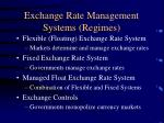 Exchange Rate Management Systems (Regimes)