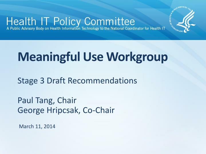meaningful use workgroup n.