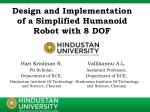 Design and Implementation of a Simplified Humanoid Robot with 8 DOF