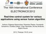 The 16th International Conference ELECTRONICS'2012