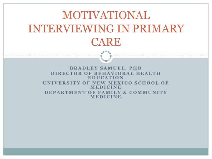motivational interviewing in primary care n.