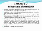 Lectures 6-7 Production of ammonia