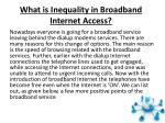 What is Inequality in Broadband Internet Access?