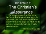 The nature of The Christian's Assurance