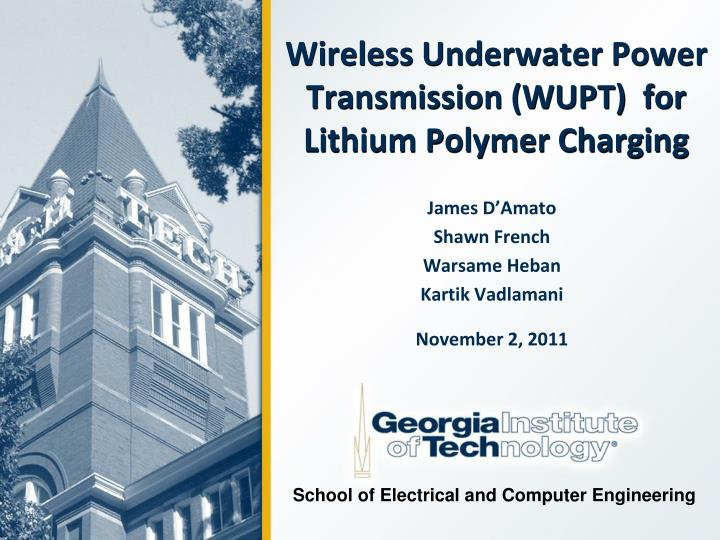 wireless underwater power transmission wupt for lithium polymer charging n.