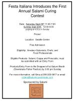 Festa Italiana Introduces the First Annual Salami Curing Contest