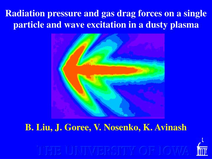 radiation pressure and gas drag forces on a single particle and wave excitation in a dusty plasma n.