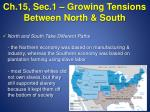 Ch.15, Sec.1 – Growing Tensions Between North & South