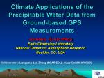 Climate  Applications  of  the  Precipitable  Water Data from Ground-based  GPS  Measurements