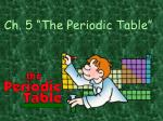 """Ch. 5 """"The Periodic Table"""""""
