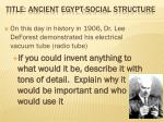 Title: Ancient Egypt-Social Structure