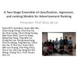 A Two-Stage Ensemble of classification, regression, and ranking Models for Advertisement Ranking