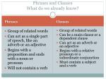 Phrases and Clauses What do we already know?