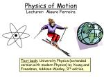 Physics of Motion Lecturer:  Mauro Ferreira