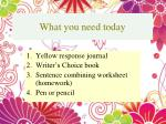 What you need today